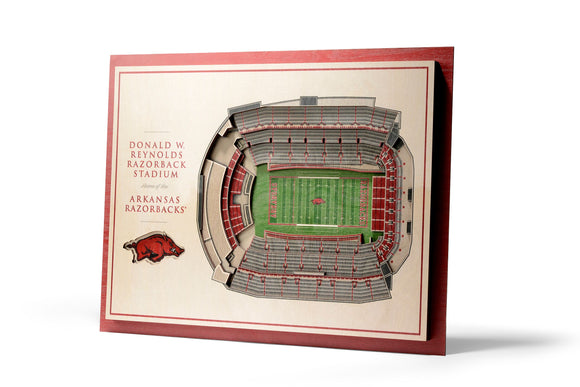Arkansas Razorbacks | 3D Stadium View | Razorback Stadium | Wall Art | Wood | 5 Layer