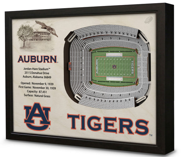 Auburn Tigers | 3D Stadium View | Jordan-Hare Stadium | Wall Art | Wood
