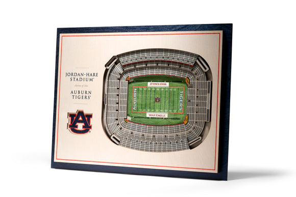 Auburn Tigers | 3D Stadium View | Jordan-Hare Stadium | Wall Art | Wood | 5 Layer
