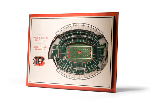 Cincinnati Bengals | 3D Stadium View | Paul Brown Stadium | Wall Art | Wood | 5 Layer