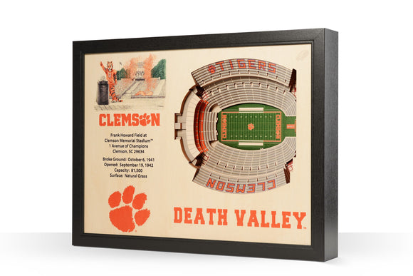 Clemson Tigers | 3D Stadium View | Memorial Stadium | Wall Art | Wood