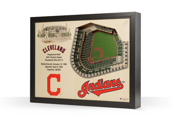 Cleveland Indians | 3D Stadium View | Progressive Field | Wall Art | Wood