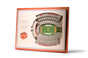Clemson Tigers | 3D Stadium View | Memorial Stadium | Wall Art | Wood | 5 Layer