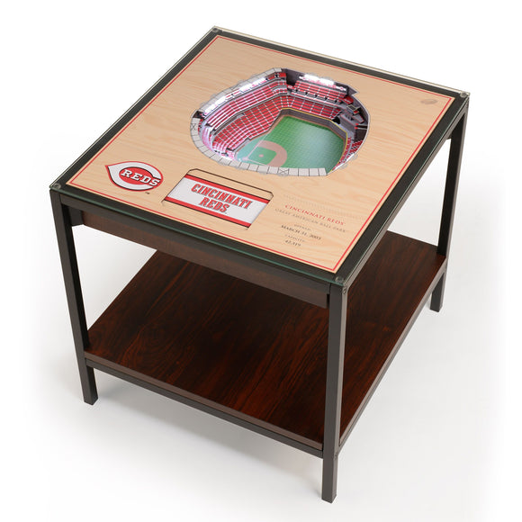 Cincinnati Reds | 3D Stadium View | Lighted End Table | Wood