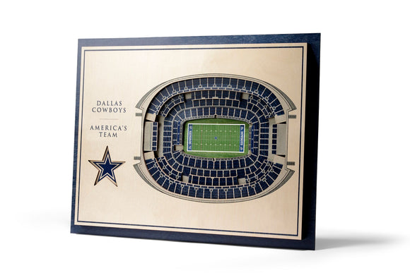 Dallas Cowboys | 3D Stadium View | America's Team | Wall Art | Wood | 5 Layer