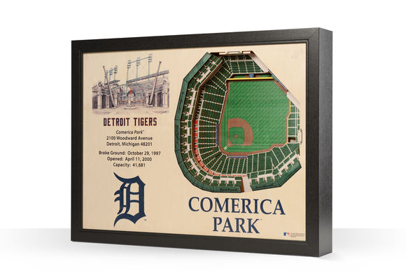 Detroit Tigers | 3D Stadium View | Comerica Park | Wall Art | Wood