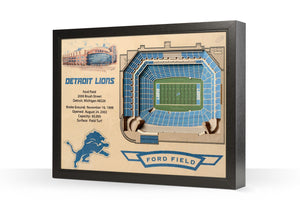 Detroit Lions | 3D Stadium View | Ford Field | Wall Art | Wood
