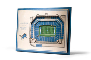 Detroit Lions | 3D Stadium View | Ford Field | Wall Art | Wood | 5 Layer