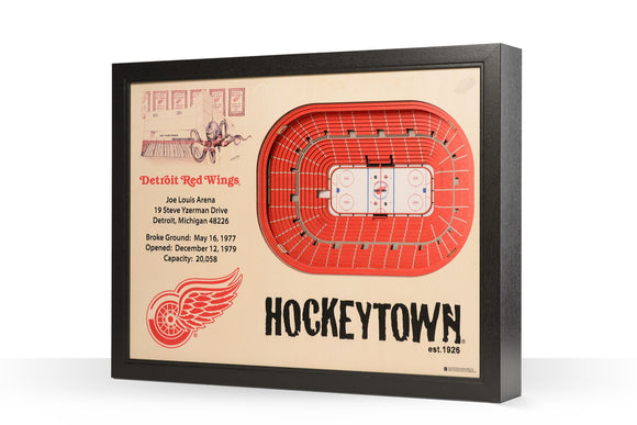 Detroit Red Wings | 3D Stadium View | Joe Louis Area | Wall Art | Wood