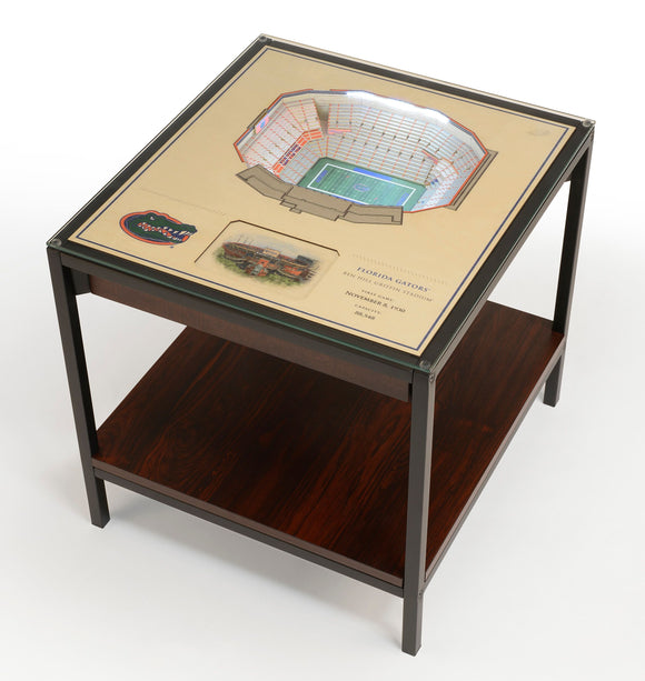 Florida Gators | 3D Stadium View | Lighted End Table | Wood