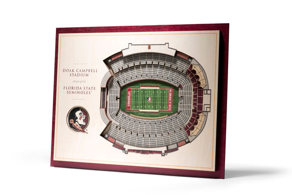 Florida State Seminoles | 3D Stadium View | Doak Campbell Stadium | Wall Art | Wood | 5 Layer