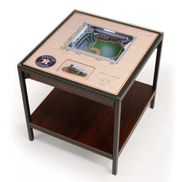 Houston Astros | 3D Stadium View | Lighted End Table | Wood
