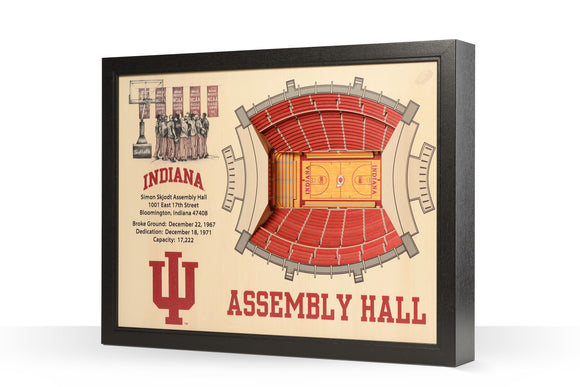 Indiana Hoosiers | 3D Stadium View | Assembly Hall | Wall Art | Wood