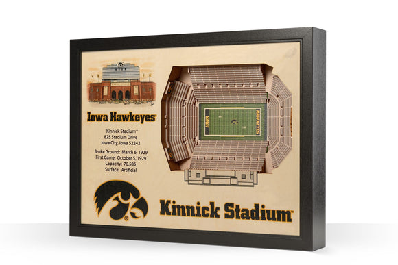 Iowa Hawkeyes | 3D Stadium View | Kinnick Stadium | Wall Art | Wood