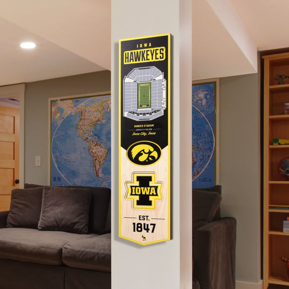 Iowa Hawkeyes | Stadium Banner | Kinnick Stadium | Wood