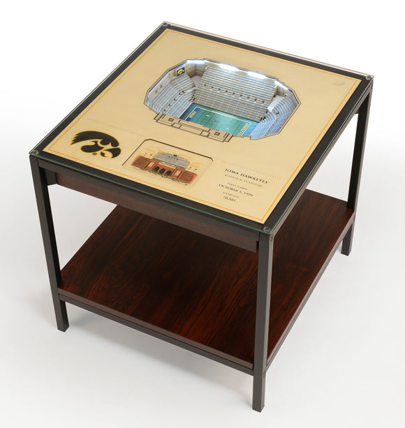 Iowa Hawkeyes | 3D Stadium View | Lighted End Table | Wood