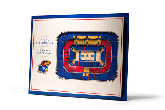 Kansas Jayhawks  | 3D Stadium View | Allen Fieldhouse  | Wall Art | Wood | 5 Layer