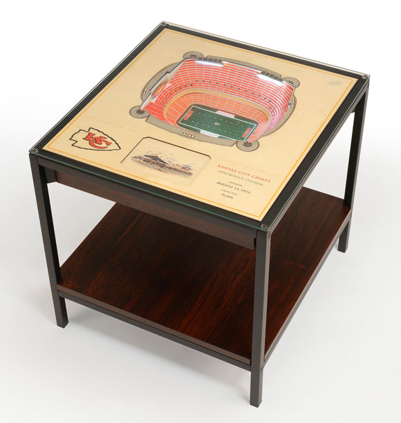 Kansas City Chiefs | 3D Stadium View | Lighted End Table | Wood