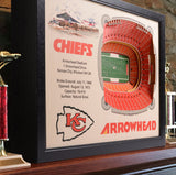 Kansas City Chiefs | 3D Stadium View | Arrowhead Stadium | Wall Art | Wood