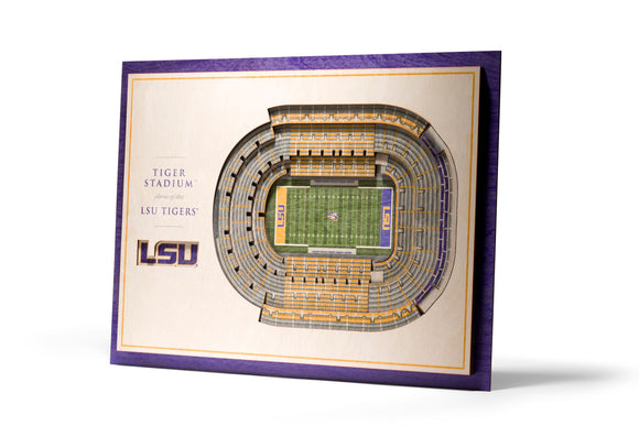 LSU Tigers | 3D Stadium View | Tiger Stadium | Wall Art | Wood | 5 Layer