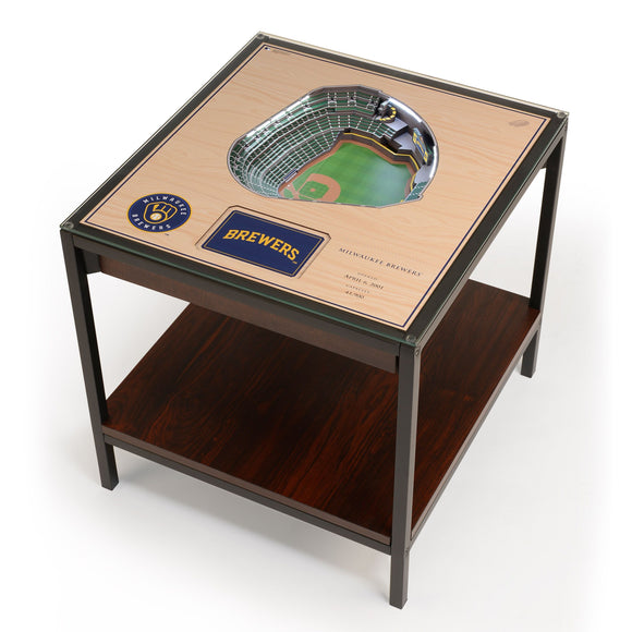 Milwaukee Brewers | 3D Stadium View | Lighted End Table | Wood