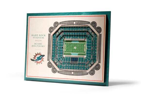 Miami Dolphins | 3D Stadium View | Hard Rock Stadium | Wall Art | Wood | 5 Layer