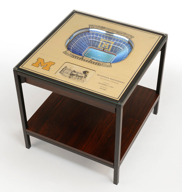 Michigan Wolverines | 3D Stadium View | Lighted End Table | Wood