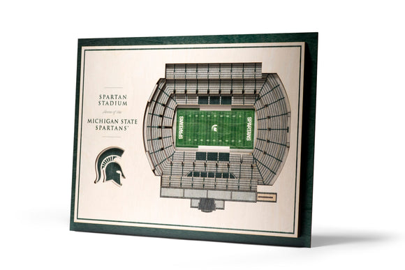 Michigan State Spartans | 3D Stadium View | Spartan Stadium | Wall Art | Wood | 5 Layer
