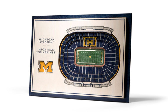Michigan Wolverines | 3D Stadium View | Michigan Stadium | Wall Art | Wood | 5 Layer