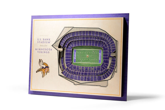Minnesota Vikings | 3D Stadium View | US Bank Stadium | Wall Art | Wood | 5 Layer
