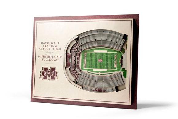 Mississippi State Bulldogs | 3D Stadium View | Davis Wade Stadium | Wall Art | Wood | 5 Layer