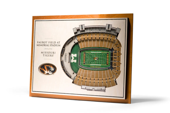 Missouri Tigers | 3D Stadium View | Faurot Field | Wall Art | Wood | 5 Layer