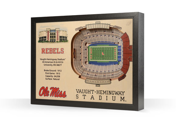 Mississippi Rebels | 3D Stadium View | Vaught-Hemingway Stadium | Wall Art | Wood
