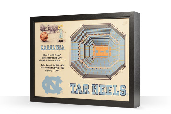 North Carolina Tarheels | UNC | 3D Stadium View | Dean Smith Center | Wall Art | Wood