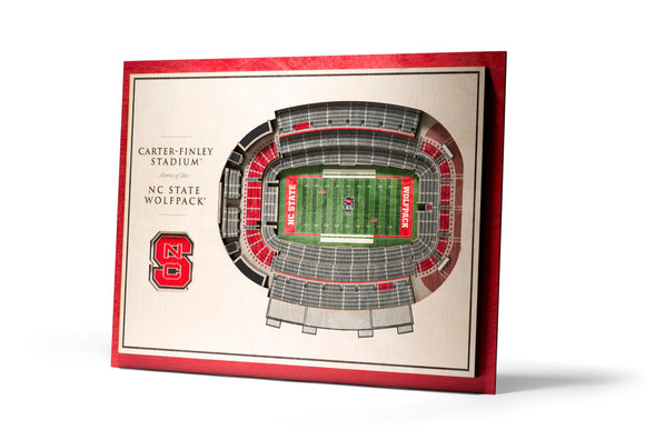 NC State Wolfpack | 3D Stadium View | Carter Finley Stadium | Wall Art | Wood | 5 Layer