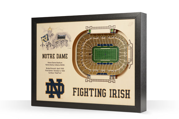 Notre Dame Irish | 3D Stadium View | Notre Dame Stadium | Wall Art | Wood