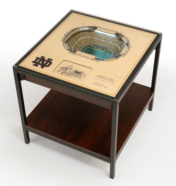 Notre Dame Irish | 3D Stadium View | Lighted End Table | Wood