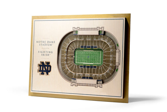 Notre Dame Irish | 3D Stadium View | Notre Dame Stadium | Wall Art | Wood | 5 Layer