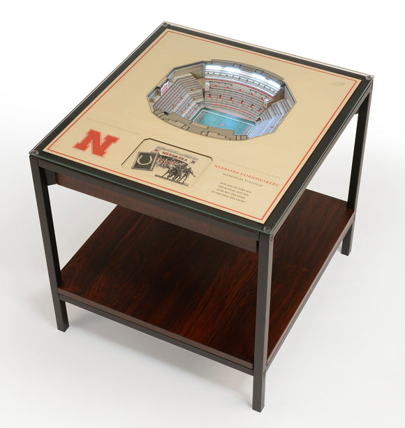 Nebraska Cornhuskers | 3D Stadium View | Lighted End Table | Wood