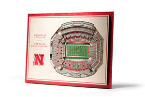 Nebraska Cornhuskers | 3D Stadium View | Memorial Stadium | Wall Art | Wood | 5 Layer