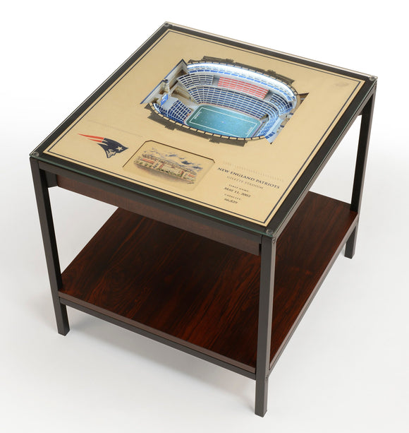New England Patriots | 3D Stadium View | Lighted End Table | Wood