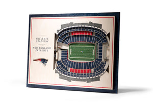 New England Patriots | 3D Stadium View | Gillette Stadium | Wall Art | Wood | 5 Layer