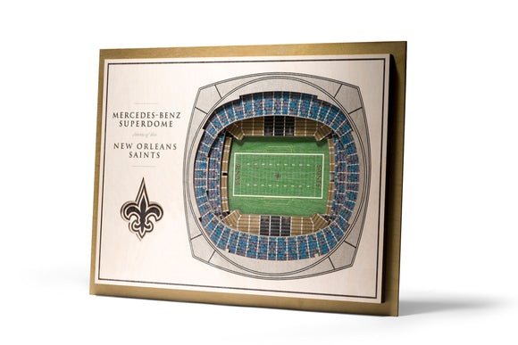 New Orleans Saints | 3D Stadium View | Superdome | Wall Art | Wood | 5 Layer