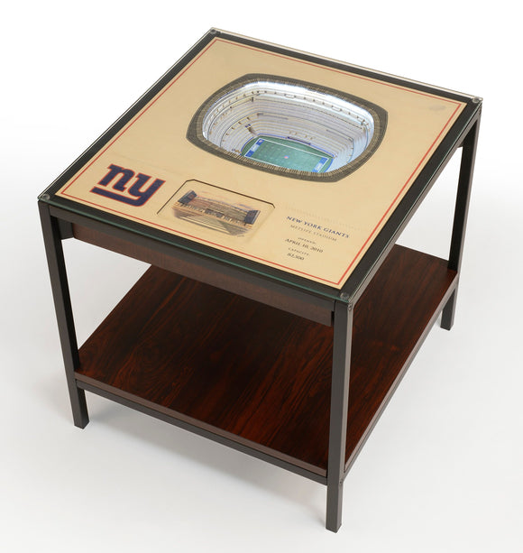 New York Giants | 3D Stadium View | Lighted End Table | Wood