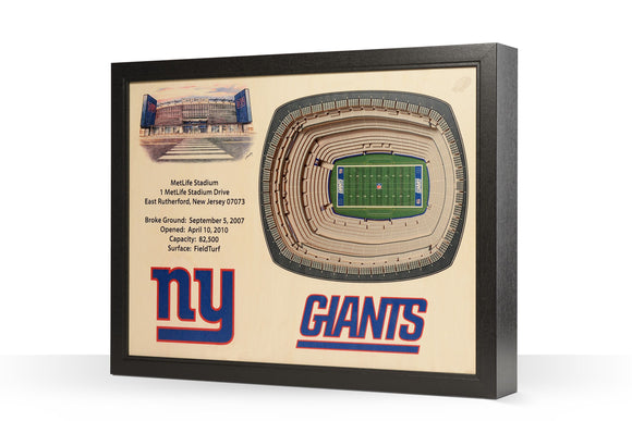 New York Giants | 3D Stadium View | MetLife Stadium | Wall Art | Wood