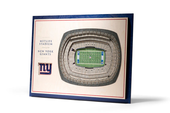 New York Giants | 3D Stadium View | Metlife Stadium | Wall Art | Wood | 5 Layer