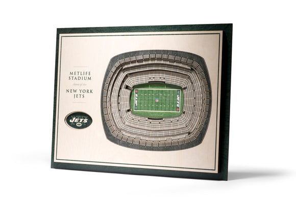 New York Jets | 3D Stadium View | Metlife Stadium | Wall Art | Wood | 5 Layer