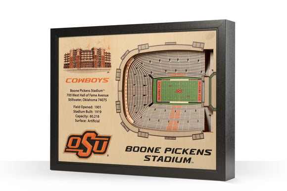 Oklahoma State Cowboys | 3D Stadium View | Boone Pickens Stadium | Wall Art | Wood