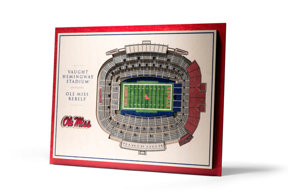 Ole Miss Rebels | 3D Stadium View | Vaught Hemingway Stadium | Wall Art | Wood | 5 Layer