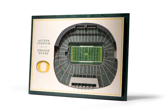 Oregon Ducks | 3D Stadium View | Autzen Stadium | Wall Art | Wood | 5 Layer